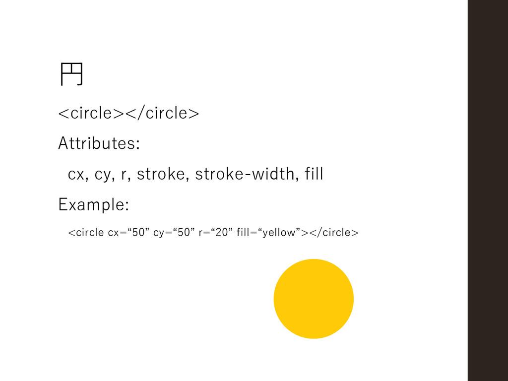 円 <circle></circle> Attributes: cx, cy, r, stro...