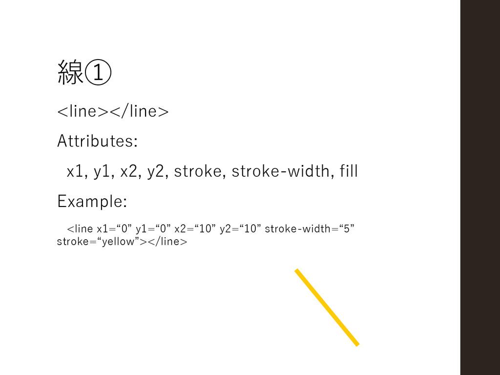 線① <line></line> Attributes: x1, y1, x2, y2, st...