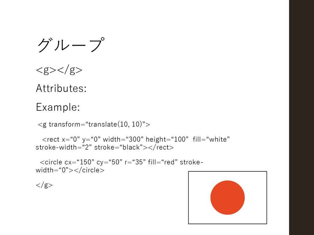 グループ <g></g> Attributes: Example: <g transform=...