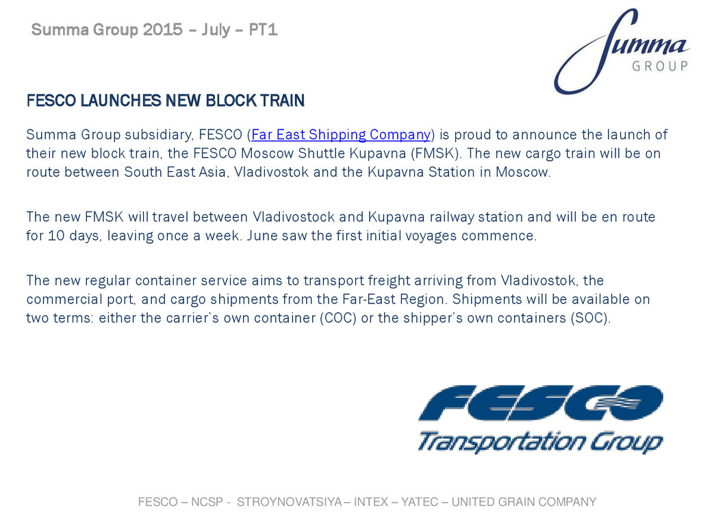 FESCO LAUNCHES NEW BLOCK TRAIN Summa Group subs...