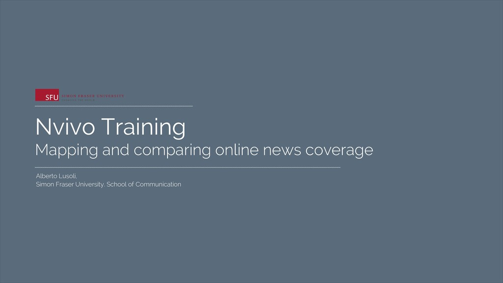 Nvivo Training Mapping and comparing online new...