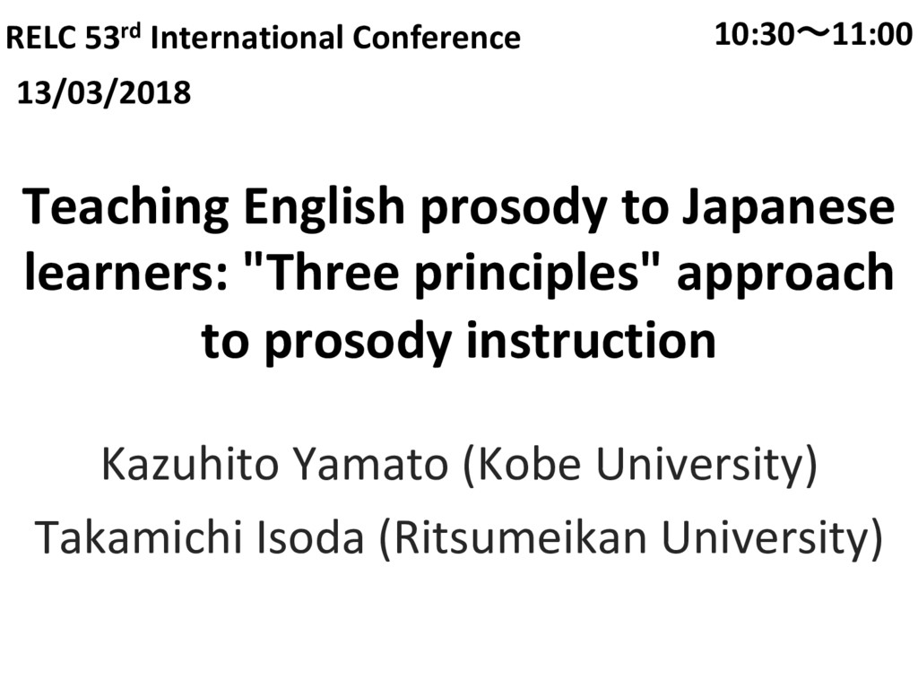 Teaching English prosody to Japanese learners: ...