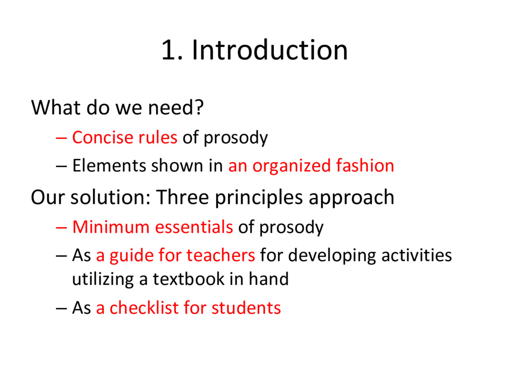 1. Introduction What do we need? – Concise rule...