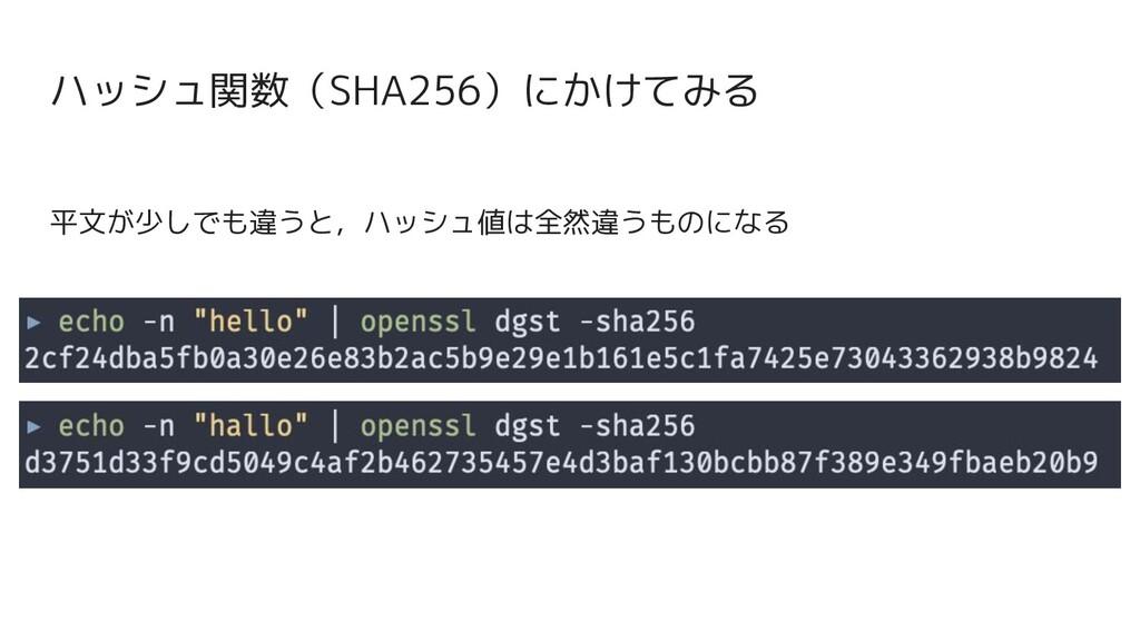 平文が少しでも違うと,ハッシュ値は全然違うものになる ハッシュ関数(SHA256)にかけてみる