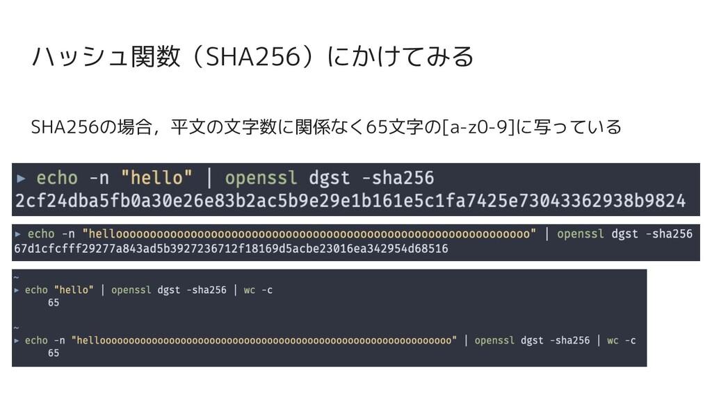 SHA256の場合,平文の文字数に関係なく65文字の[a-z0-9]に写っている ハッシュ関数...