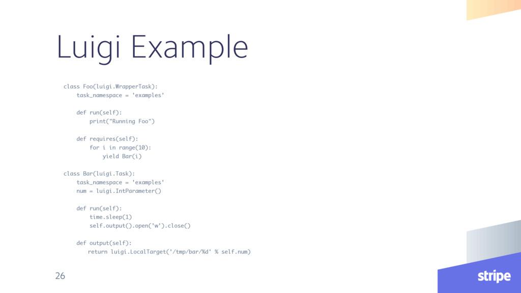 Luigi Example class Foo(luigi.WrapperTask): tas...