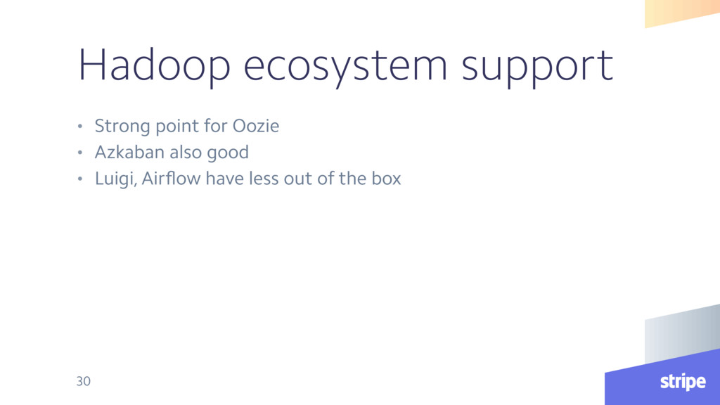 Hadoop ecosystem support • Strong point for Ooz...