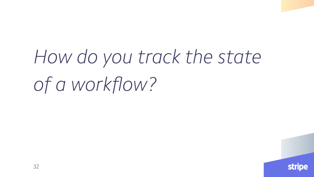 How do you track the state of a workflow? 32
