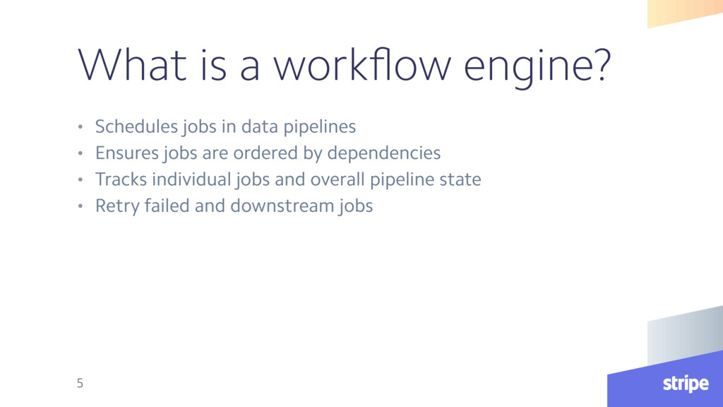 What is a workflow engine? • Schedules jobs in d...