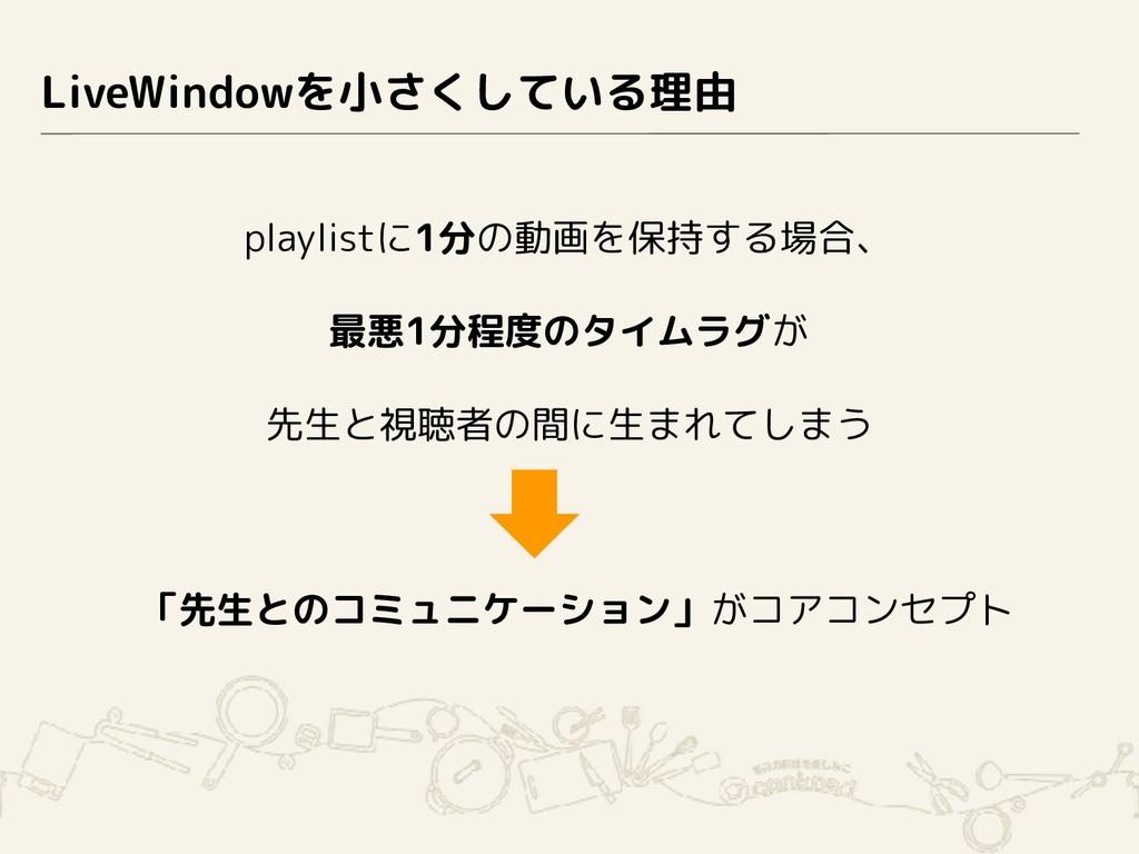 LiveWindowを小さくしている理由 playlistに1分の動画を保持する場合、 最悪1...