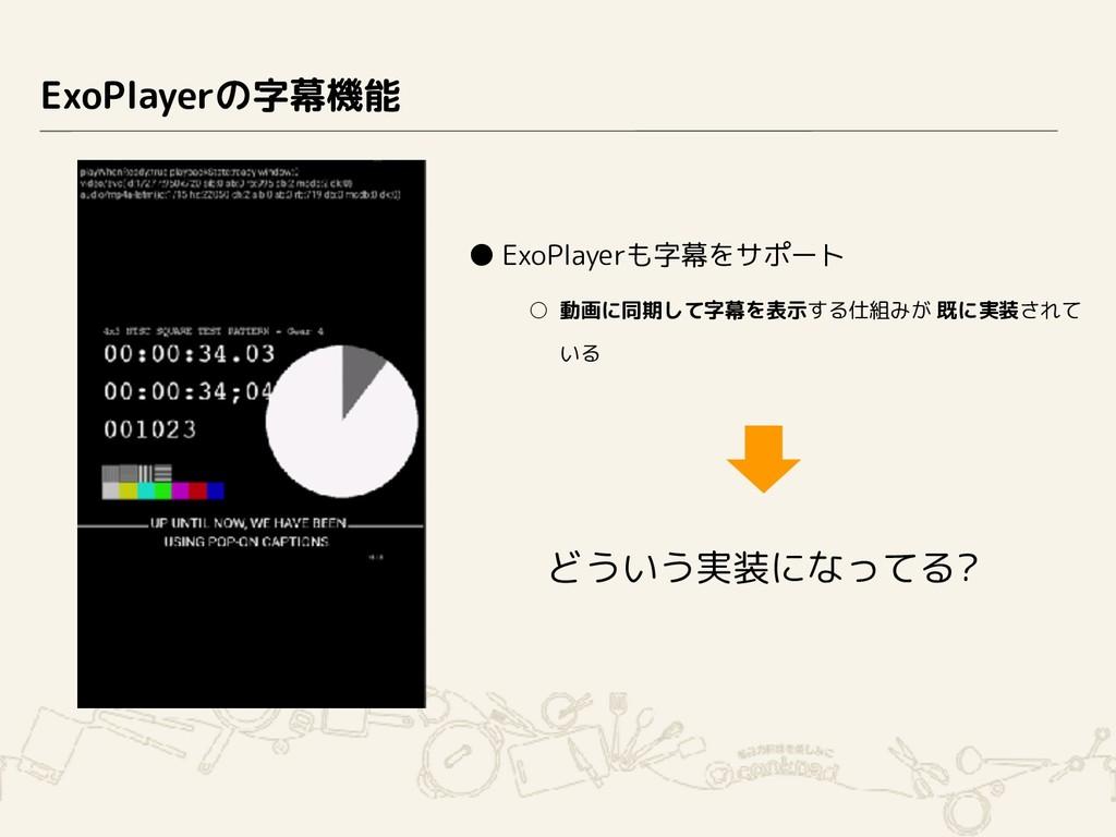 ExoPlayerの字幕機能 ● ExoPlayerも字幕をサポート ○ 動画に同期して字幕を...
