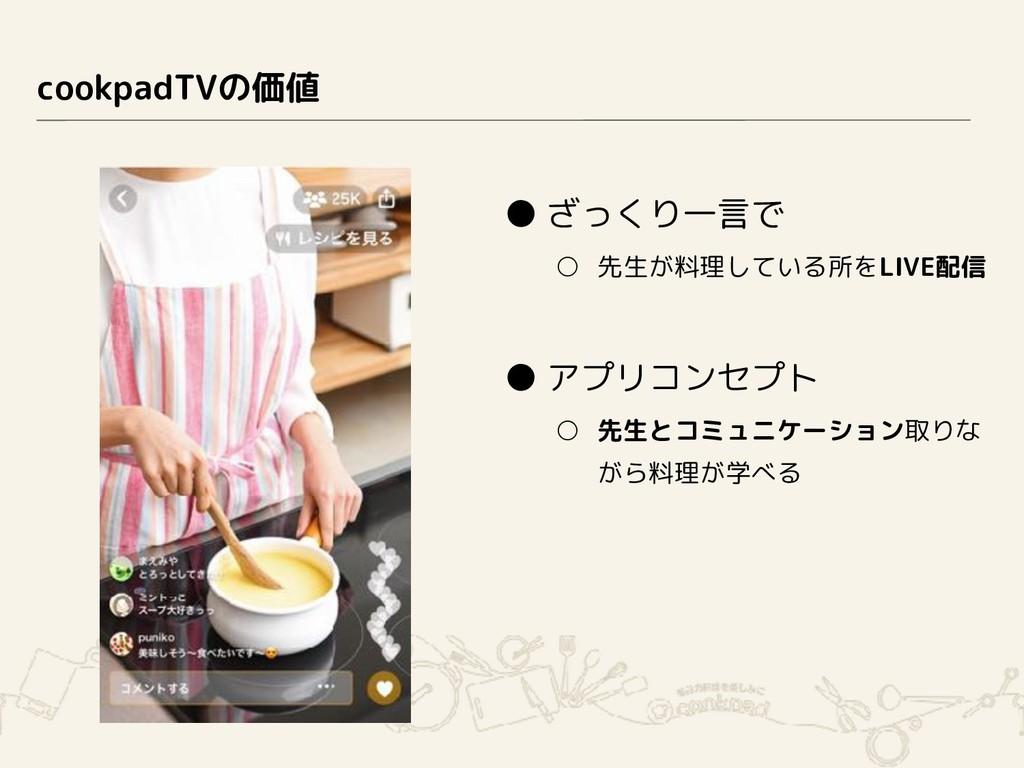 cookpadTVの価値 ● ざっくり一言で ○ 先生が料理している所をLIVE配信 ● アプ...