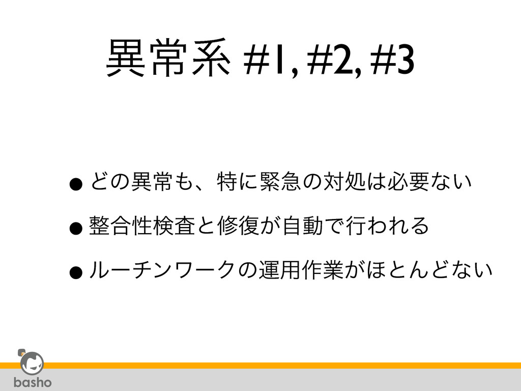 ҟৗܥ #1, #2, #3 •Ͳͷҟৗɺಛʹۓٸͷରॲඞཁͳ͍ •߹ੑݕࠪͱम෮͕ࣗಈ...