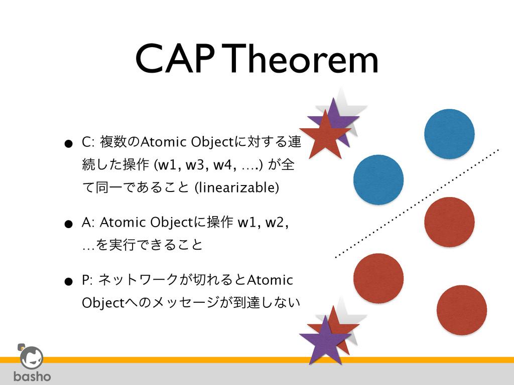 CAP Theorem • C: ෳͷAtomic Objectʹର͢Δ࿈ ଓͨ͠ૢ࡞ (w...