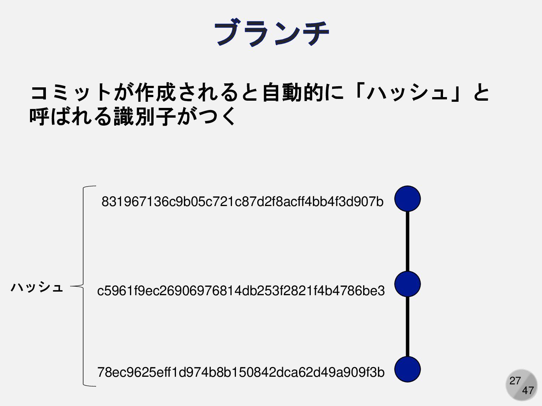 27 コミットが作成されると自動的に「ハッシュ」と 呼ばれる識別子がつく 831967136c...