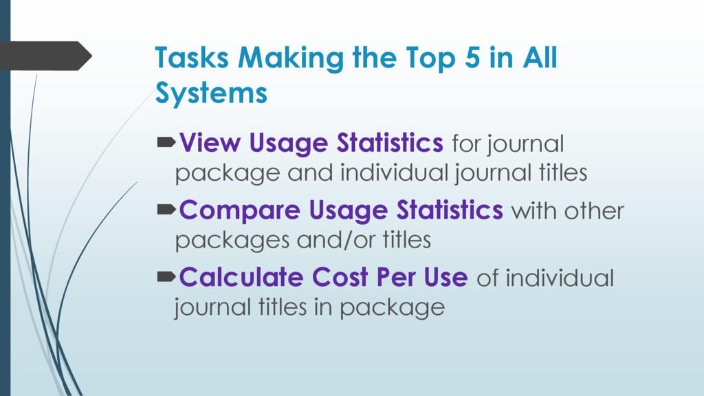 Tasks Making the Top 5 in All Systems View Usa...