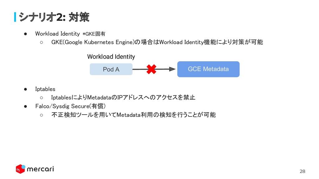 28 シナリオ2: 対策 ● Workload Identity *GKE固有 ○ GKE(...