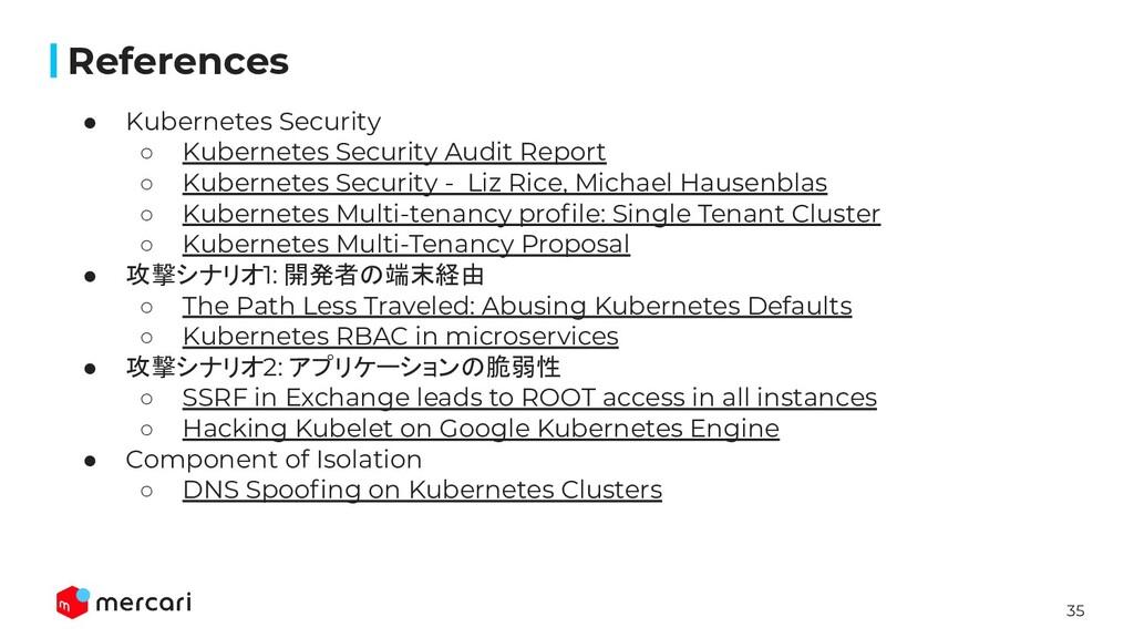 35 References ● Kubernetes Security ○ Kubernete...
