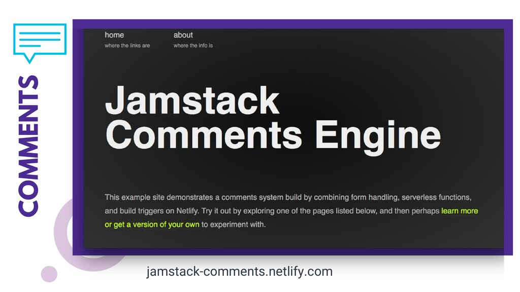 COMMENTS jamstack-comments.netlify.com