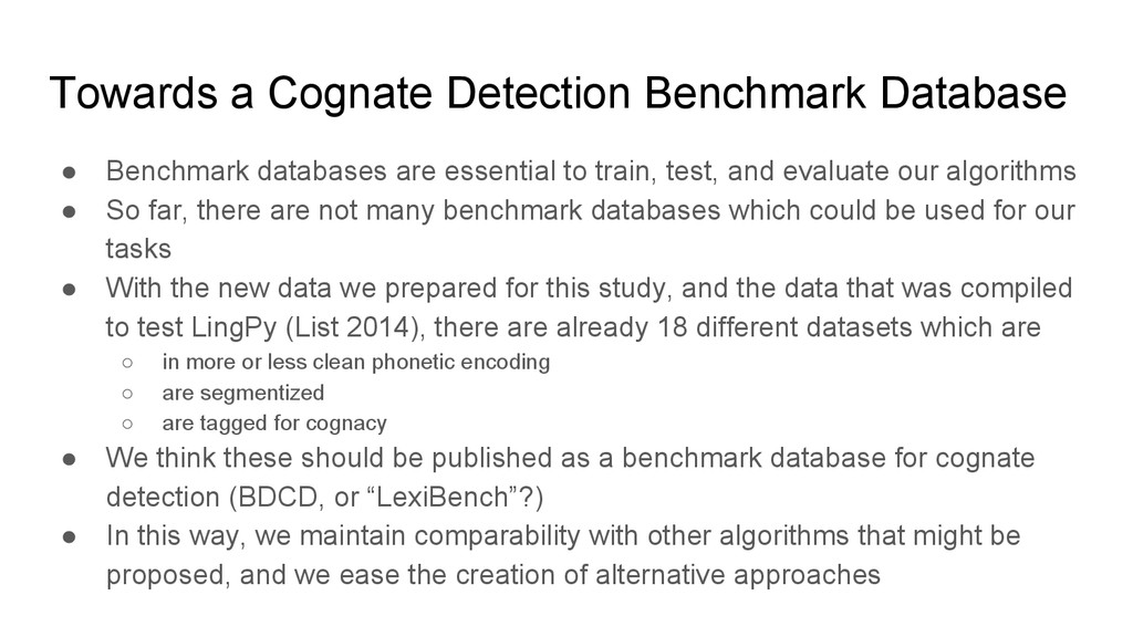 Towards a Cognate Detection Benchmark Database ...
