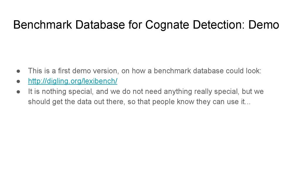 Benchmark Database for Cognate Detection: Demo ...