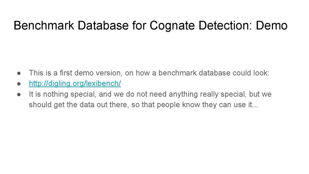 Benchmark Database for Cognate Detection: Demo ...