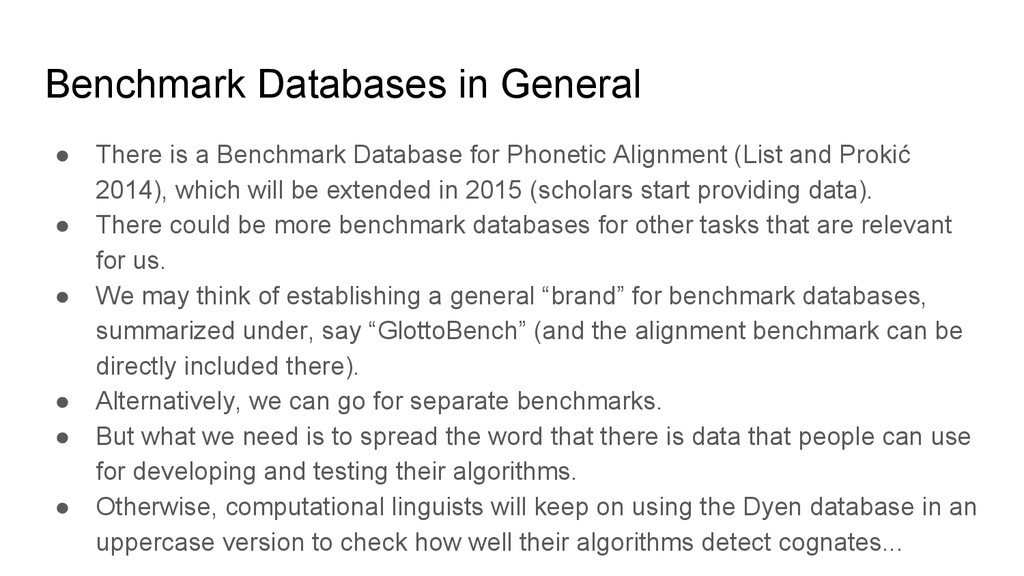 Benchmark Databases in General ● There is a Ben...
