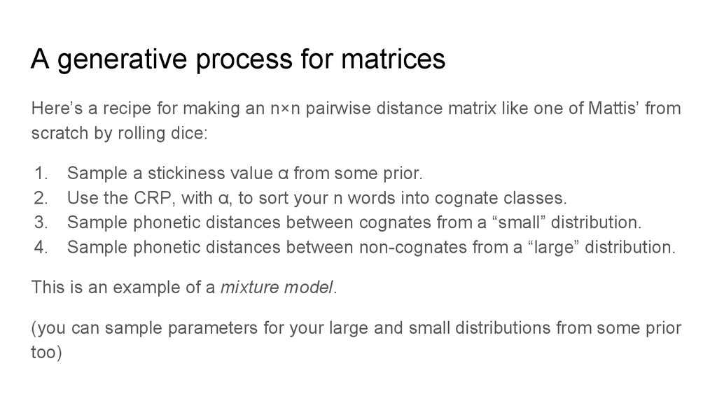 A generative process for matrices Here's a reci...