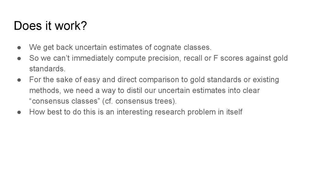 Does it work? ● We get back uncertain estimates...