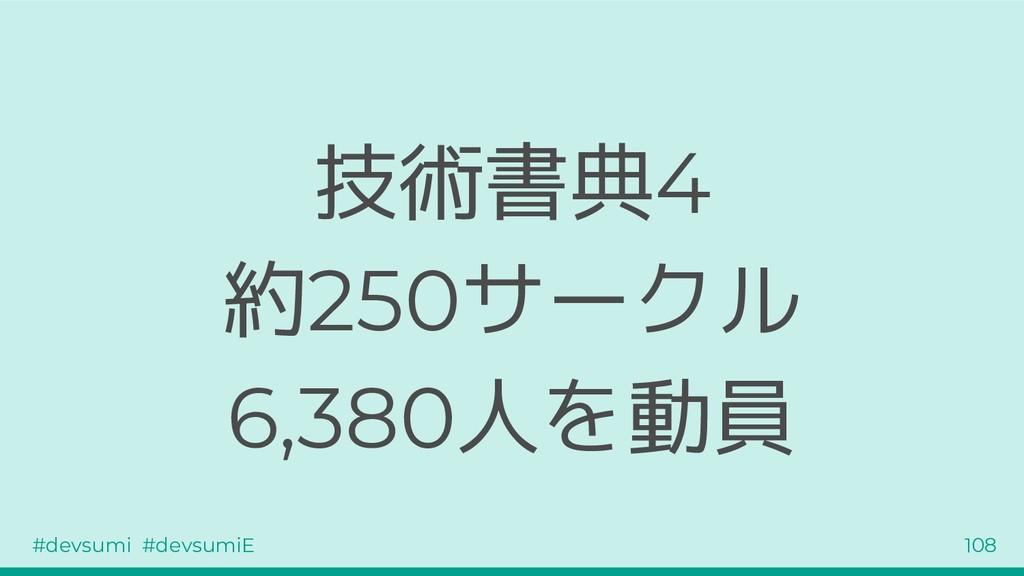 #devsumi #devsumiE 108 技術書典4 約250サークル 6,380人を動員