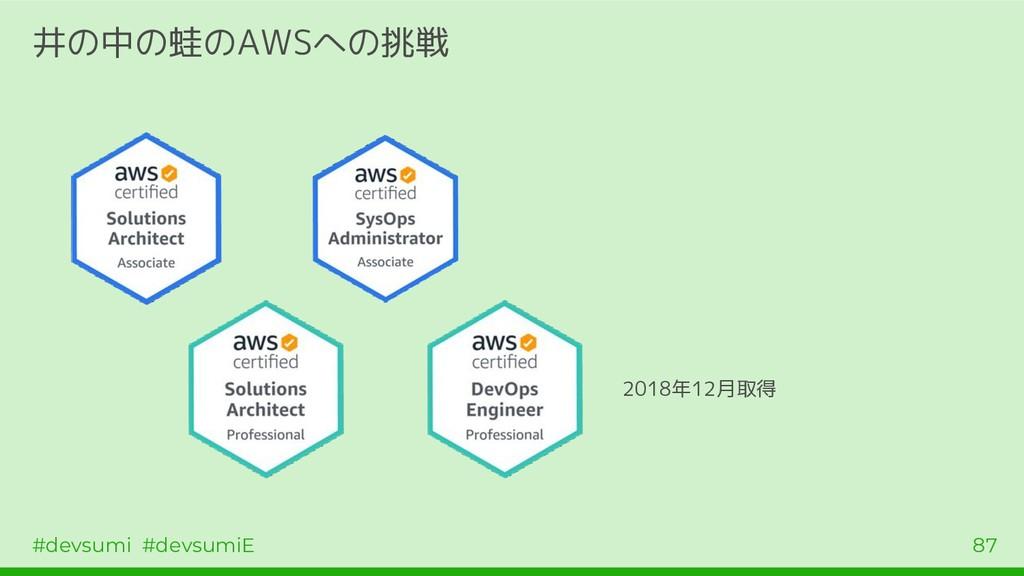 #devsumi #devsumiE 87 井の中の蛙のAWSへの挑戦 2018年12月取得