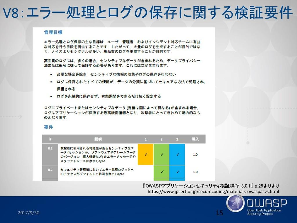 2017/9/30 15 『OWASPアプリケーションセキュリティ検証標準 3.0.1』 p....