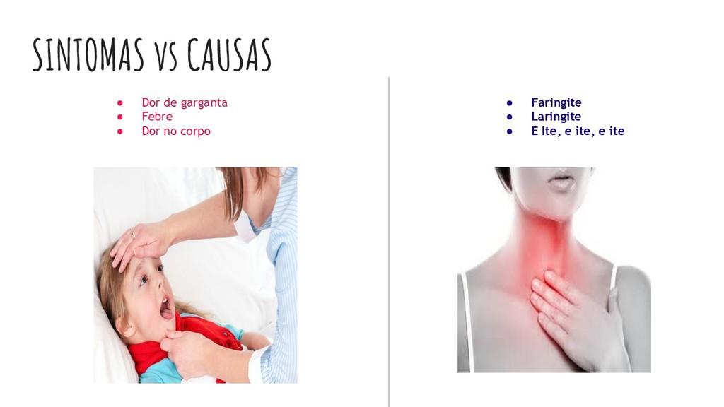 SINTOMAS vs CAUSAS ● Dor de garganta ● Febre ● ...