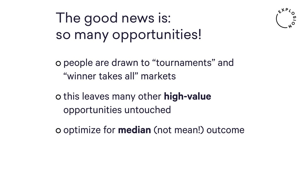 The good news is: so many opportunities! people...