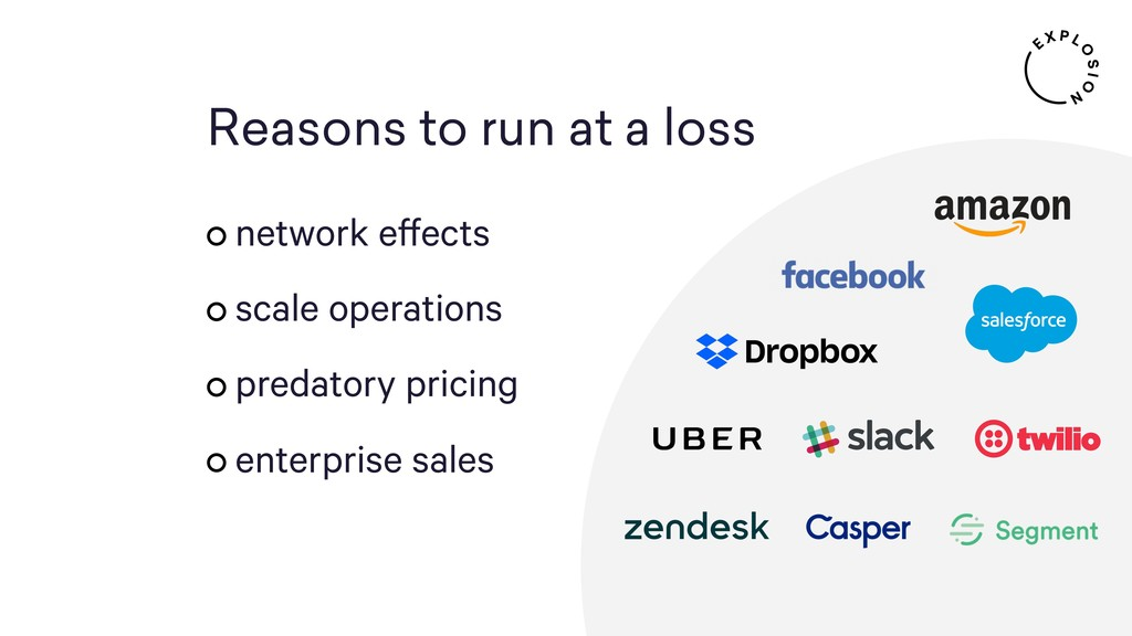 Reasons to run at a loss network effects scale ...