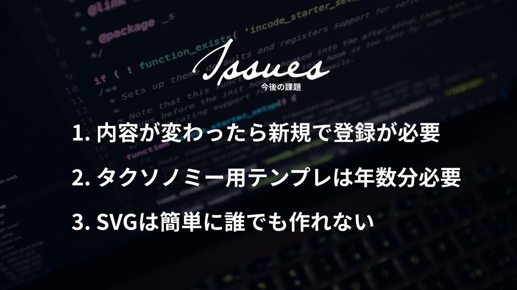 1. 内容が変わったら新規で登録が必要 2. タクソノミー⽤テンプレは年数分必要 3. SVG...