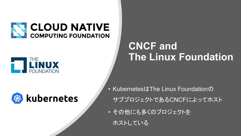 CNCF and The Linux Foundation • KubernetesはThe...