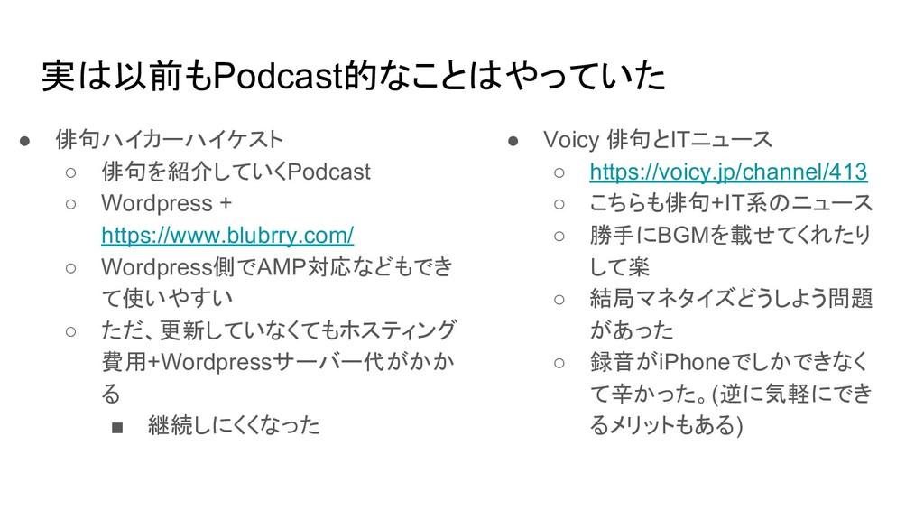 実は以前もPodcast的なことはやっていた ● 俳句ハイカーハイケスト ○ 俳句を紹介してい...