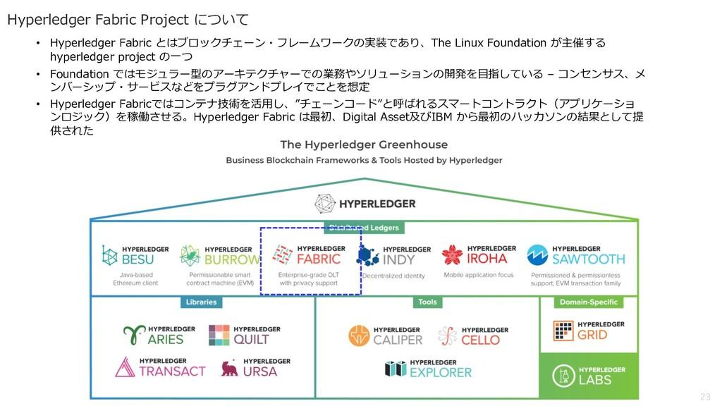 23 Hyperledger Fabric Project について • Hyperledge...
