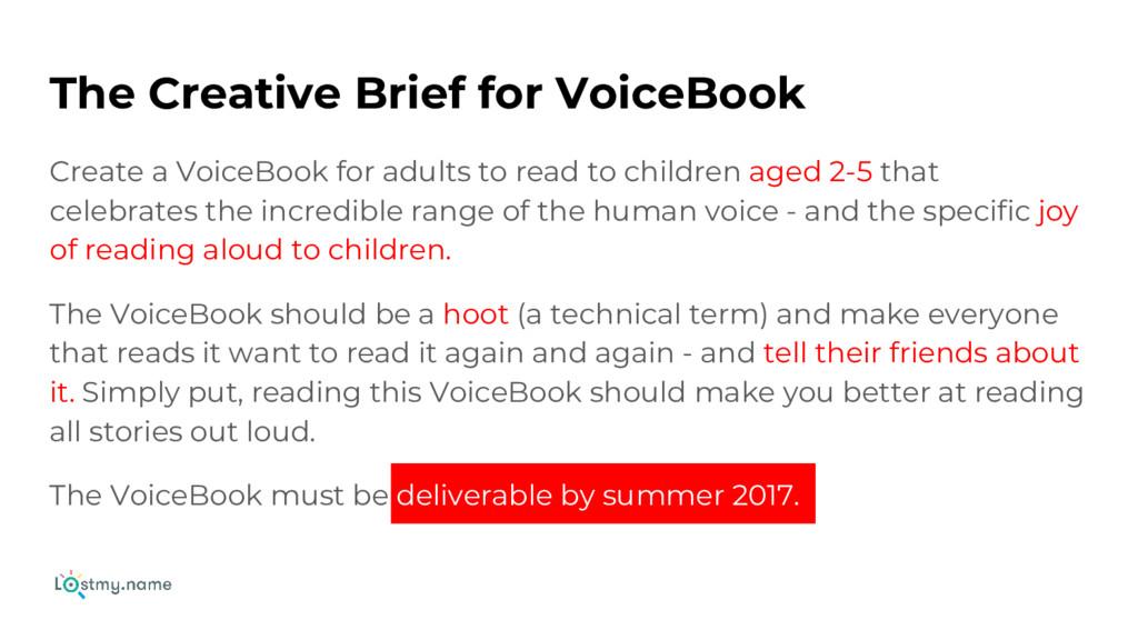 The Creative Brief for VoiceBook Create a Voice...