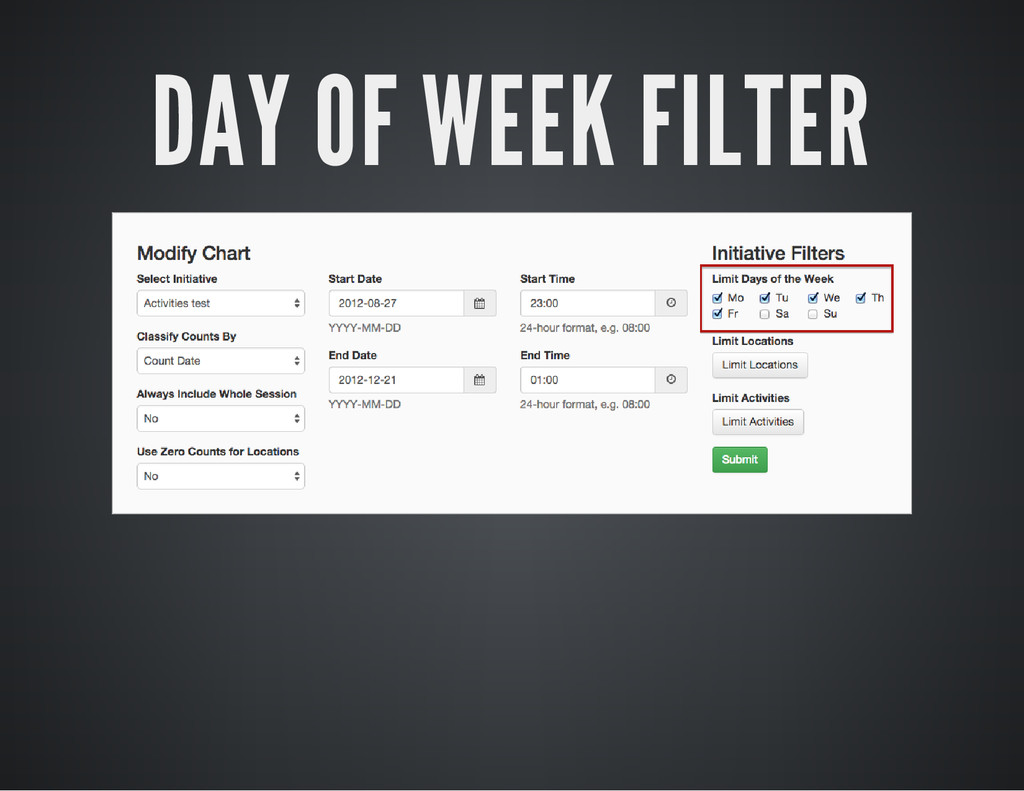 DAY OF WEEK FILTER