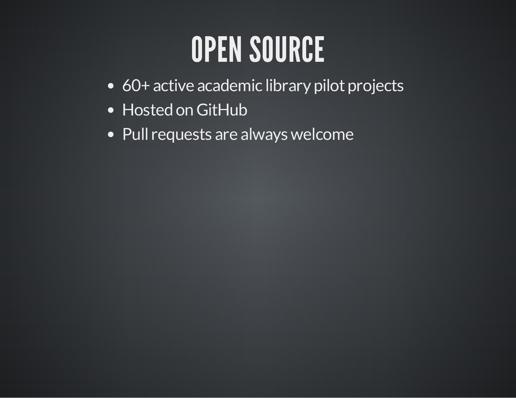 OPEN SOURCE 60+ active academic library pilot p...
