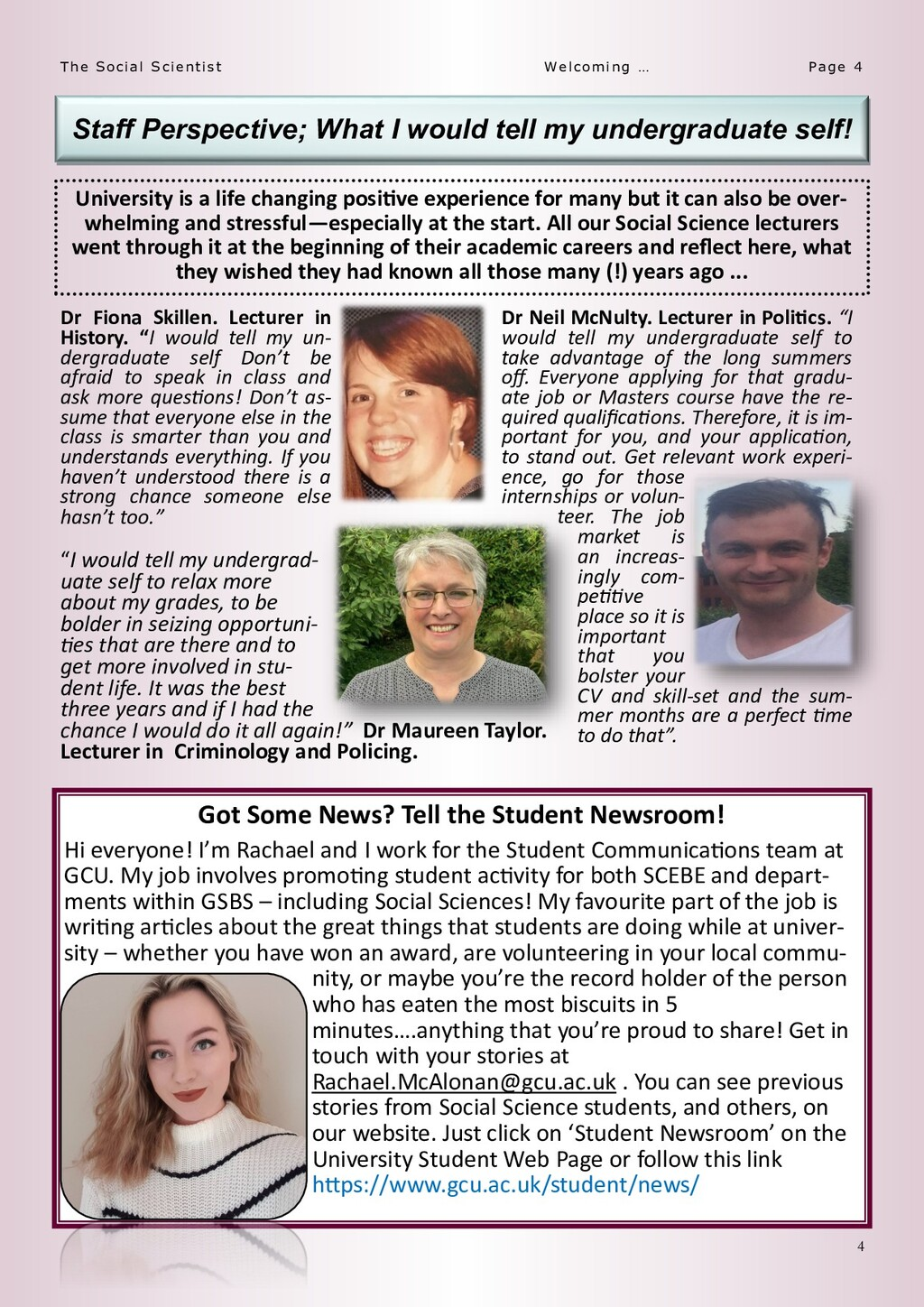 4 Page 4 The Social Scientist Welcoming … Staff...