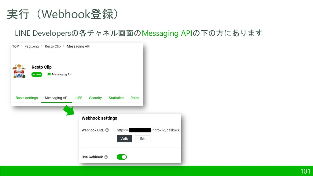 実行(Webhook登録) 101 LINE Developersの各チャネル画面のMessa...