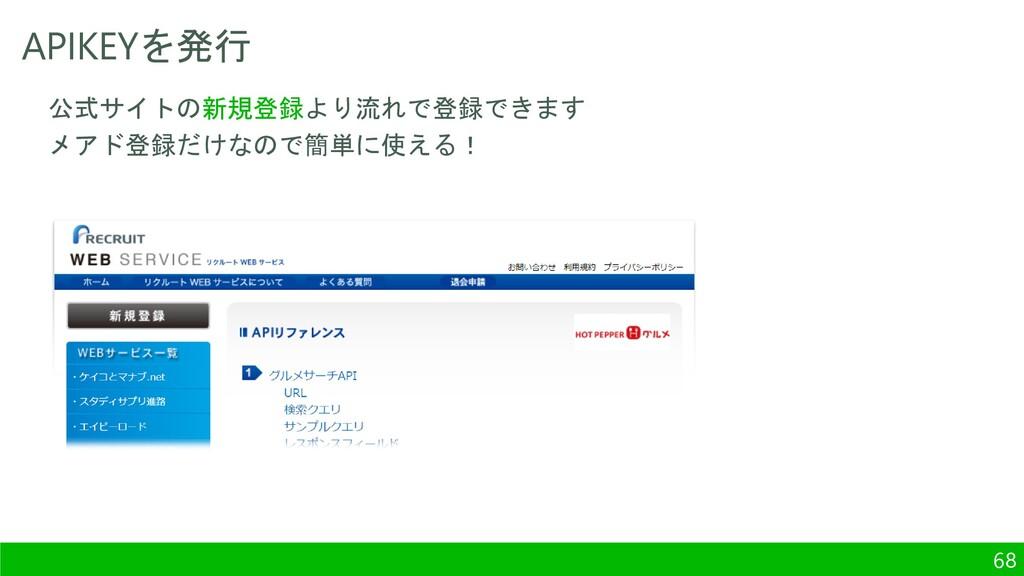 APIKEYを発行 68 公式サイトの新規登録より流れで登録できます メアド登録だけなので簡単...