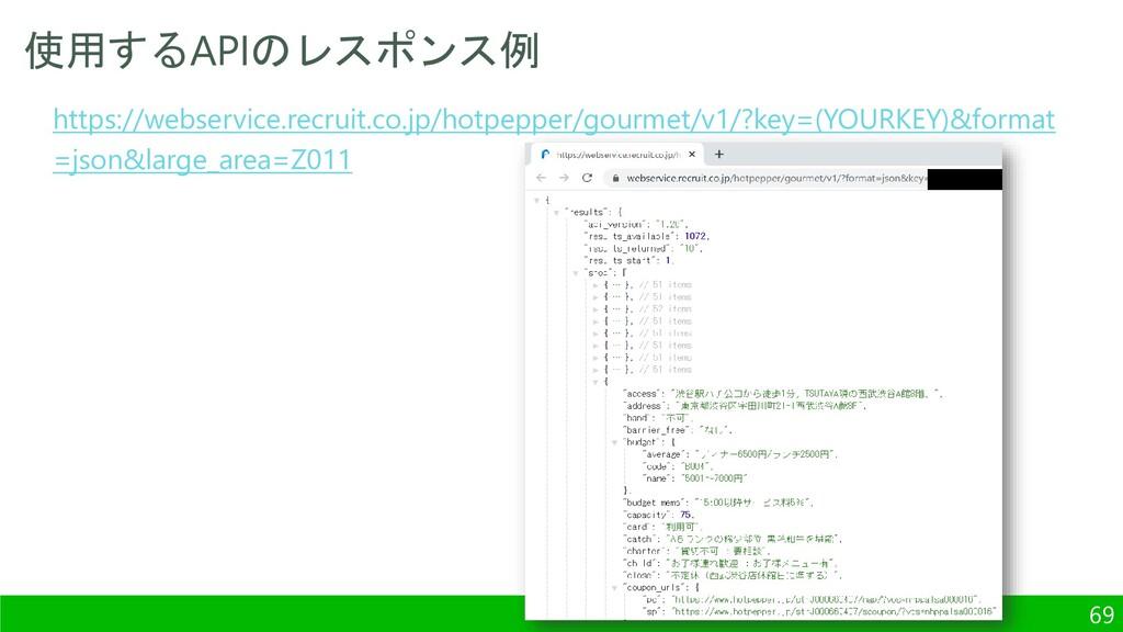 使用するAPIのレスポンス例 69 https://webservice.recruit.co...