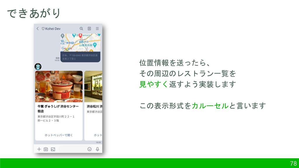 できあがり 78 位置情報を送ったら、 その周辺のレストラン一覧を 見やすく返すよう実装します...