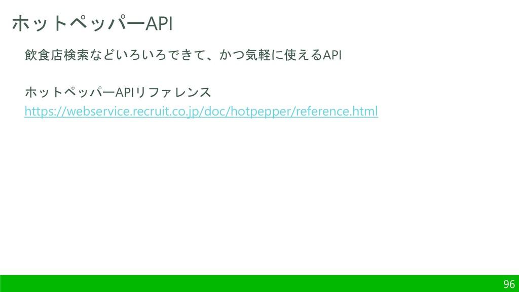 ホットペッパーAPI 96 飲食店検索などいろいろできて、かつ気軽に使えるAPI ホットペッパ...