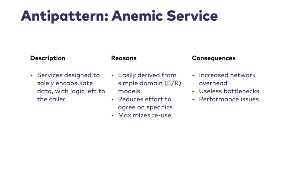 Antipattern: Anemic Service Description Reasons...