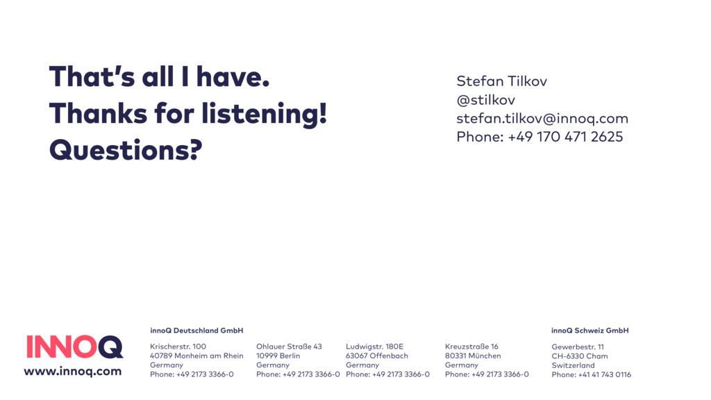 Stefan Tilkov @stilkov stefan.tilkov@innoq.com...